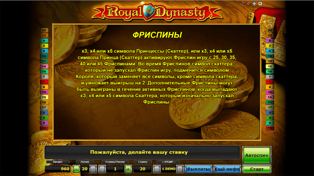 Характеристики слота Royal Dynasty 7